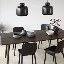 alley dining table in solid wood woud alley 180 180 x 95 x 74 cm length x width x height smoked oak black