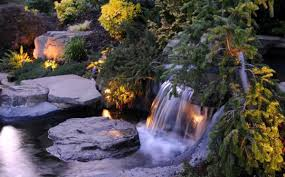 beautiful outdoor lighting waterfall rocks modern garden design beautiful outdoor lighting