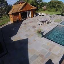 large pool patio built with bluestone