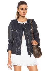 isabel marant etoile kady washed leather jacket in midnight fwrd