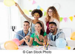 Corporate Celebration Happy Team Taking Selfie At Office Party Corporate Celebration And