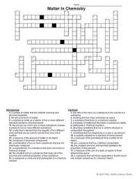 Matter In Chemistry Crossword Puzzle Education Chemistry