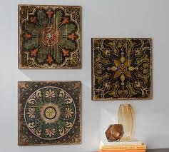 cheerful tile wall art home pictures sahara printed wood tiles set of 3 pottery barn excellent hanging ideas diy artistic blue ceramic