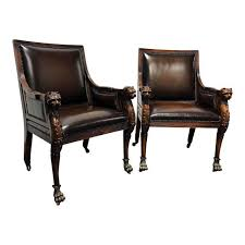 Theodore Alexander Leather Lion Head Chairs A Pair