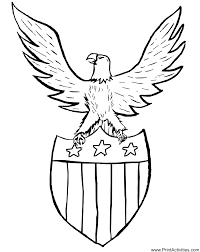 Small Picture Eagle Coloring Page An Eagle Atop a Patriotic Shield