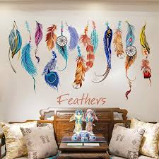 Dream Catcher Group Home Colorful Dream Catcher Feather Wall Sticker Living Room Decal 18
