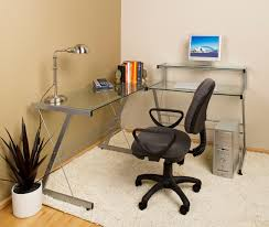 glass corner office desk. Glass Office Desk Corner With Z Iron Bases Completed By Black Swivel Chair On White Fur S