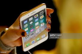 apple 8 phone. an apple phone is seen after launched iphone 8 and plus at the gum r