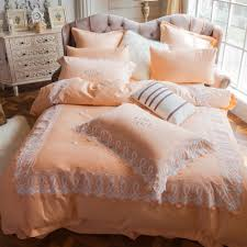 embroidered duvet cover 100 egyptian cotton bed sheet lace edge pillowcase queen king size