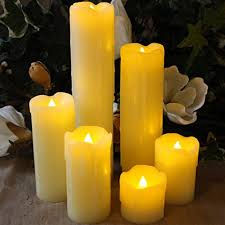 best flameless timer led candles slim set of 6 2 wide and 2 9 tall ivory dripping wax and flickering amber yellow flame by led lytes flameless