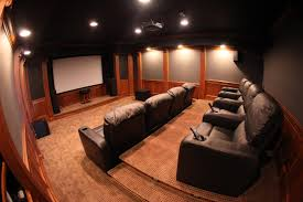 Interior:Home Theater Room Ideas With Large Screen Attched On Wall With  Built In Speakers