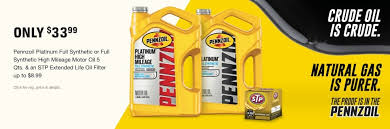 33 99 pennzoil platinum full synthetic or full synthetic high mileage motor oil 5 qts