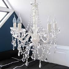 white acrylic chandelier crystals