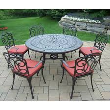 oakland living berkley 7 piece aged patio set with 54 round table and 6 cushioned chairs