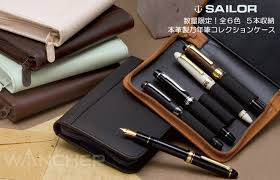 put five cowhide storage pen case collection favorite fountain pens writing instruments