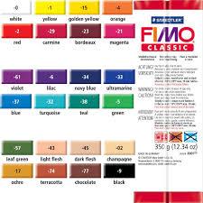Cernit Color Chart Fimo Classic 24 Colors 350 Gram Bars Bulk Purchase