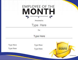 Printable Employee Of The Month Certificates Business Certificates Employee Of The Month