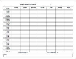 Sign Up Sheet Template With Time Slots Printable Weekly Planner With Time Slots Download Them Or Print