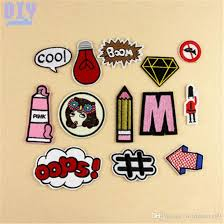 cool letters pencil iron on patches girl