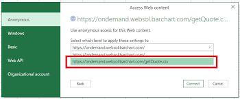 Excel Integration Barchart Ondemand