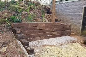 railroad tie retaining wall complete
