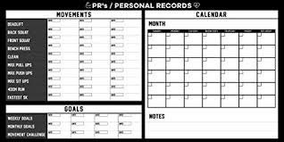Fitness Personal Record Dry Erase Board Strength Training