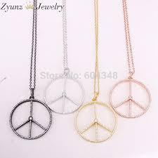 5 strands zyz320 6993 micro pave cz peace sign round pendant necklace cubic zirconia