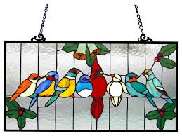 aves tiffany glass gathering birds window panel 24 5x12 5