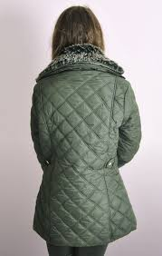 Olive Quilted Jacket with Removable Fur Collar & Ladies Olive Quilted Jacket with Removable Fur Collar Adamdwight.com