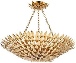 dar volcano detailed gold leaf 5 light ceiling pendant