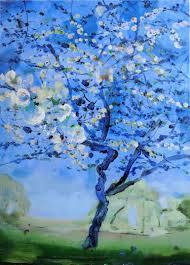 saatchi art artist luis kerch painting blue cherry tree art