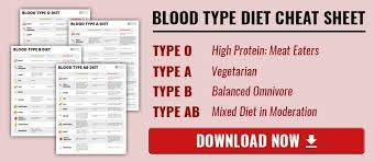 Download Blood Type O Cheat Sheet Blood Type Diet Diet