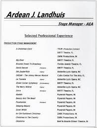 Stage Manager Resume Essayscope Com