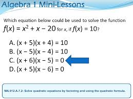 a 7 2 solve quadratic equations by factoring and using the