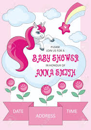 Baby Shower Invitations Template Baby Shower Invitation Template With The Image Of Cute Unicorn
