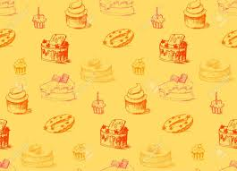 Tasty Cakes Seamless Pattern Cream Food Background Bakery Sticker
