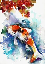 koi painting koi fish in the pond zen watercolor by tiberiu soos
