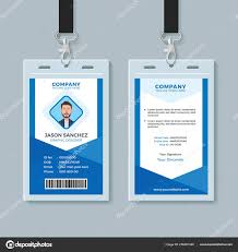 Blue Employee Identity Card Template Stock Vector