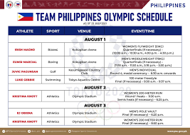 Team Philippines Olympic Schedule ...