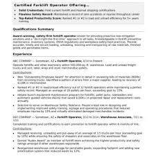 Resume Sample Of Forklift Operator New Forklift Operator Resume