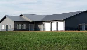 pole barn metal siding. A Pole Barn Construction Integrated With Private House Metal Siding And Roofing Three Garage