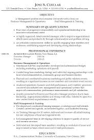 Sample Resume Management University