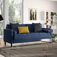 Modern blue couch Interior Design Garren Sofa Allmodern Modern Contemporary Cobalt Blue Sofa Allmodern