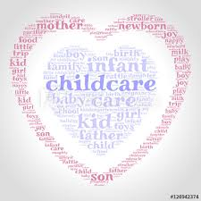 Childcare Word Cloud One Heart Inside Another Heart Gradient Grey