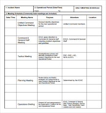 sample meeting schedule sample meeting schedule template