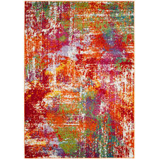 safavieh watercolor orange green 8 ft x 10 ft area rug