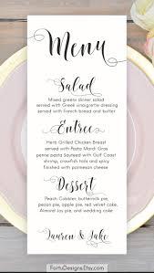Wedding Menu Calligraphy MENU Wedding menu Printable menu cards Script menu card 1