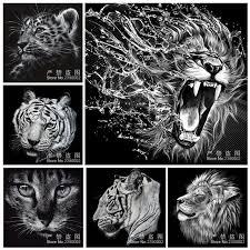 Disegni A Matita Animale Bianco 5d Pittura Diamante Diy Gatto Tigre