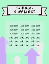 School Supplies List Template School Supply List Flyer Template Postermywall