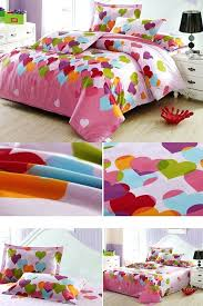 small size of adorable heart shape pattern 4 piece cotton kids duvet cover sets add a